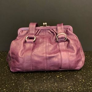 Latico Plum Leather Clasp Frame Satchel